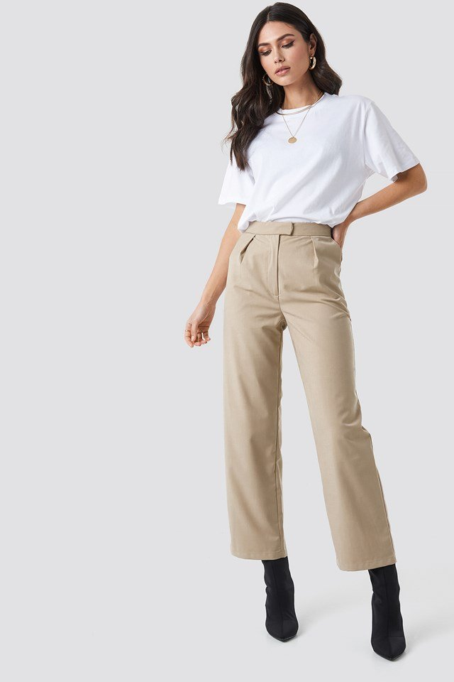 Pleated Trousers Beige
