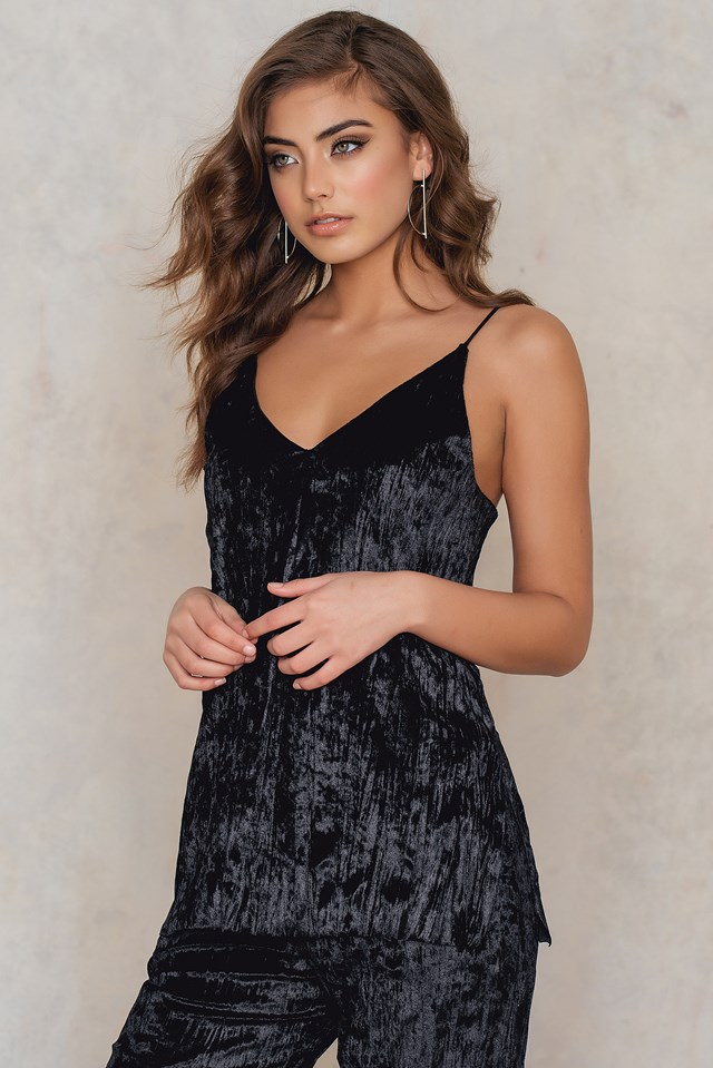 Pleated Velvet Singlet Black