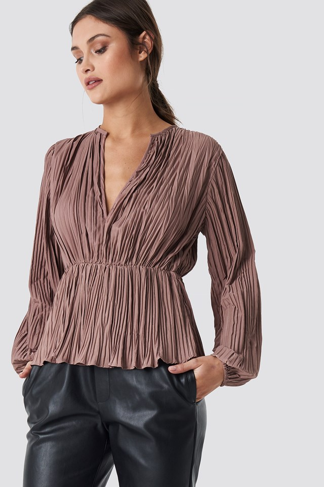 Pleated V-Neck Balloon Sleeve Top Nude Pink