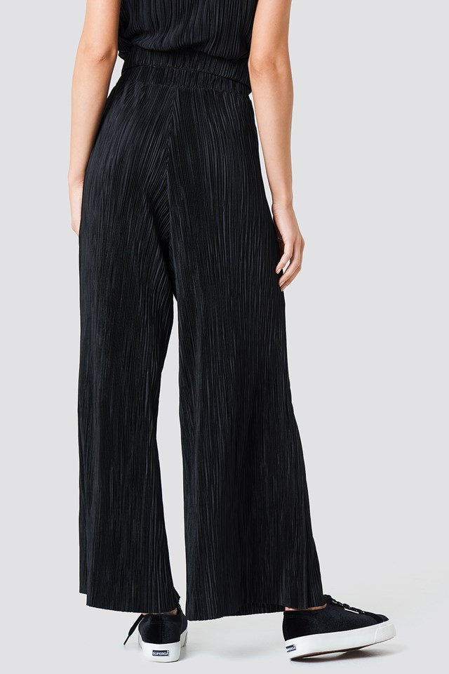 Pleated Wide Pants Black
