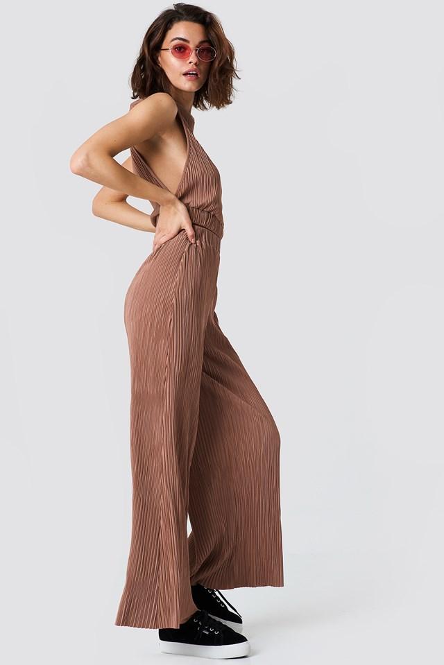 Pleated Wide Pants Dusty Dark Pink