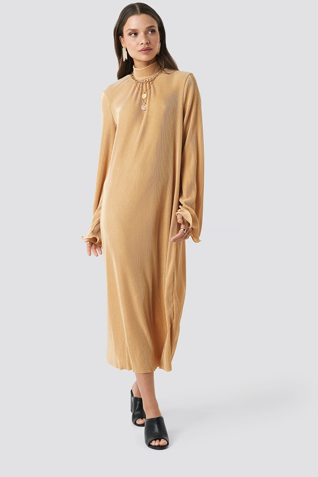 Pleated Wide Sleeve Ankle Dress Golden Beige