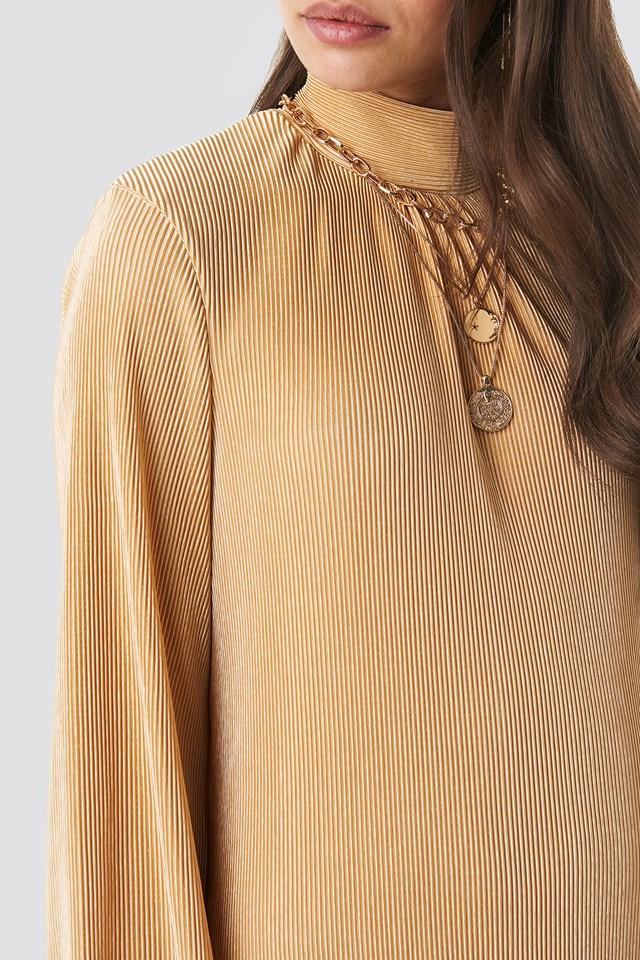 Pleated Wide Sleeve Ankle Dress Golden Beige