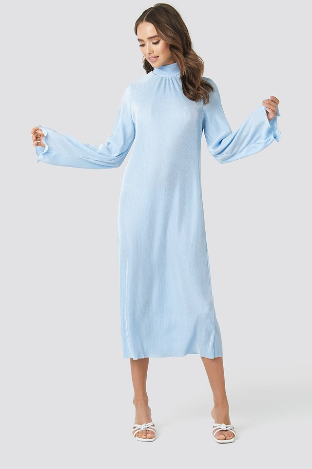 Pleated Wide Sleeve Ankle Dress Light Blue