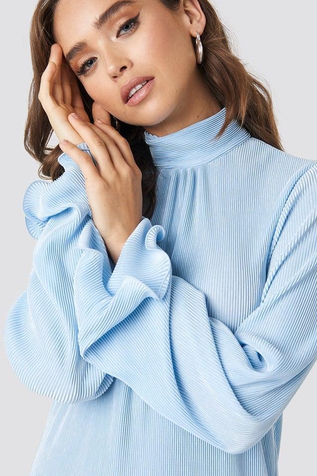 Pleated Wide Sleeve Ankle Dress Light Blue
