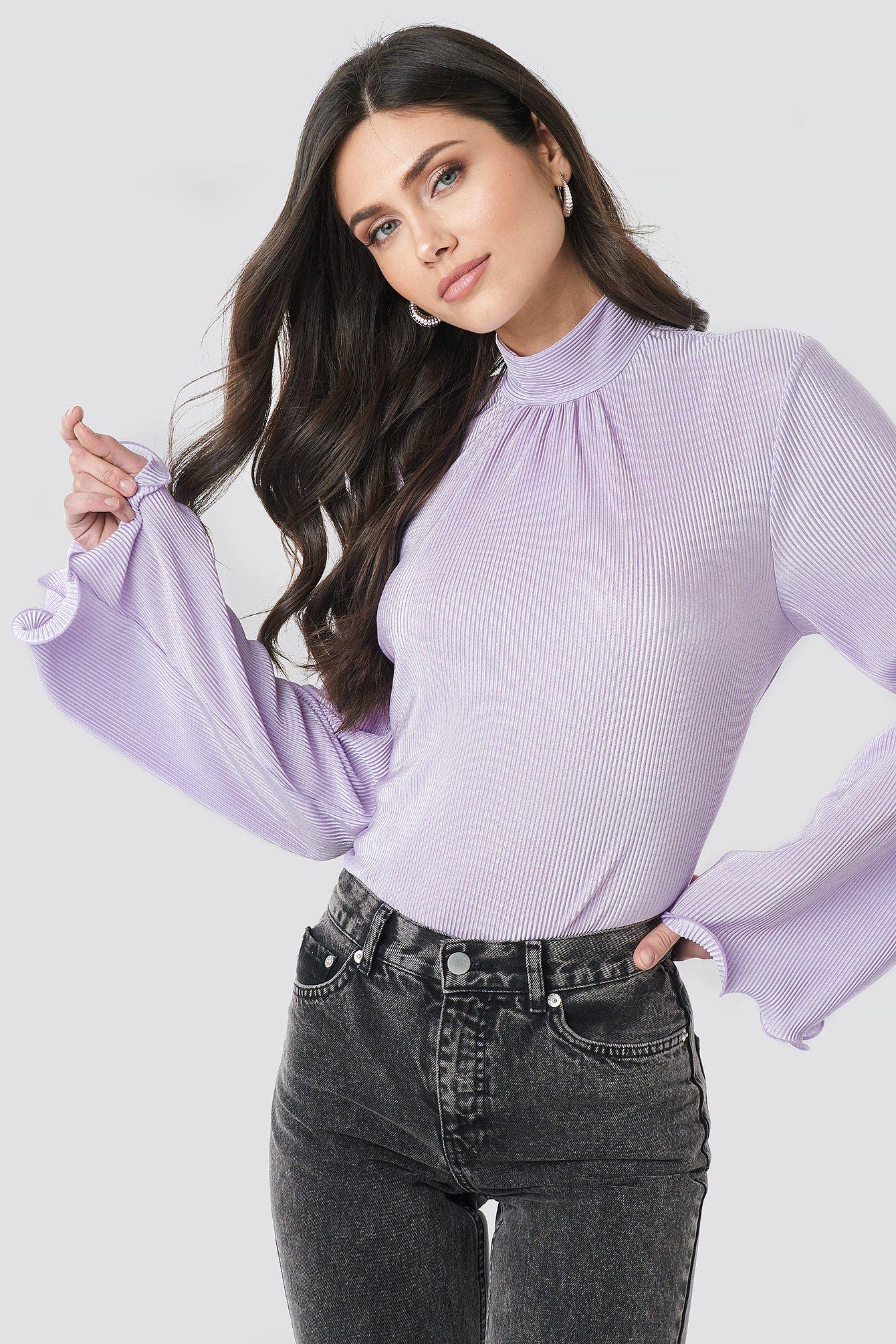 na-kd trend -  Pleated Wide Sleeve Top - Purple