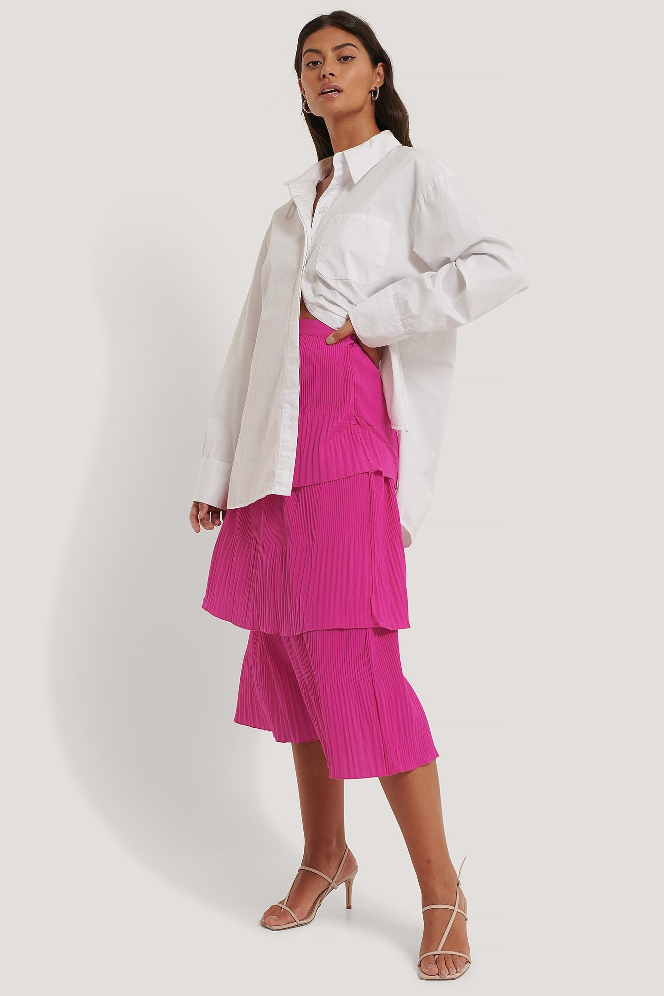 Strong Pink Plisse Ankle Skirt
