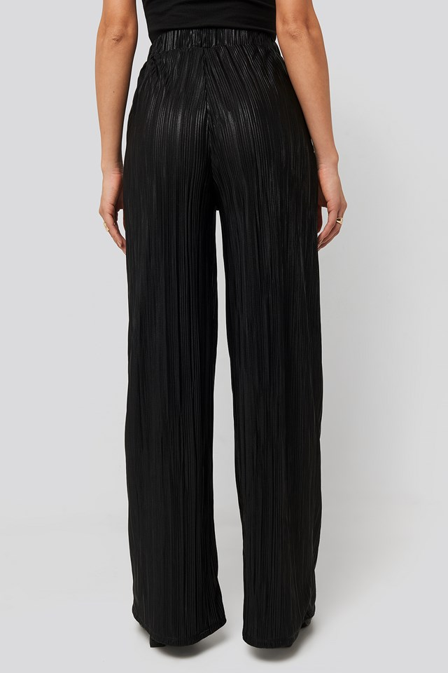 Plisse Wide Leg Pants Black