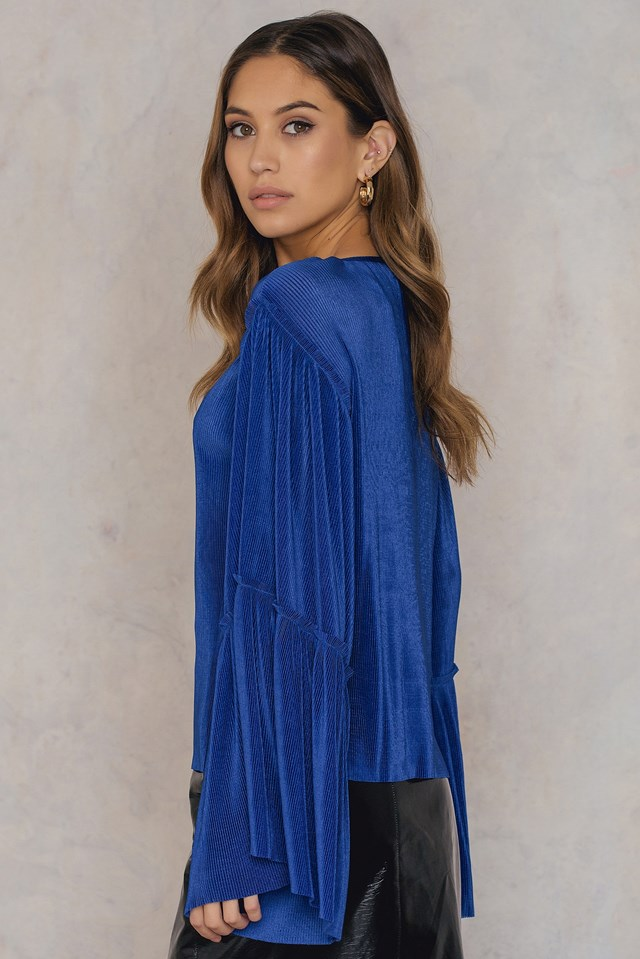 Plisse Wide Sleeve Top Cobolt