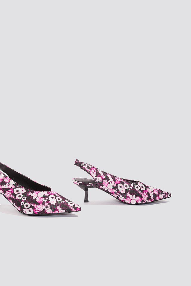 Plunge Kitten Heel Pump Pink Flower