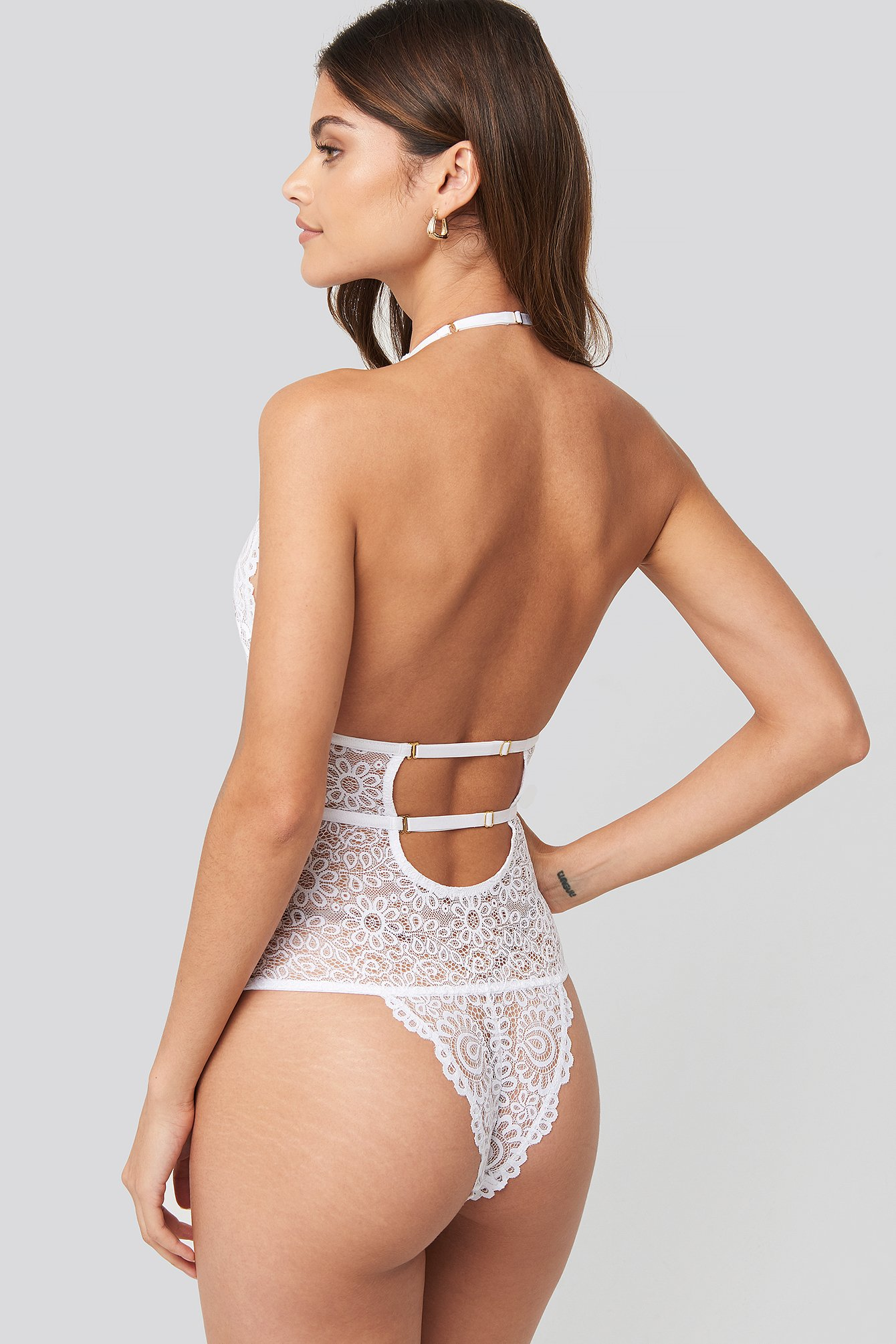 White Plunge Lace Bodysuit