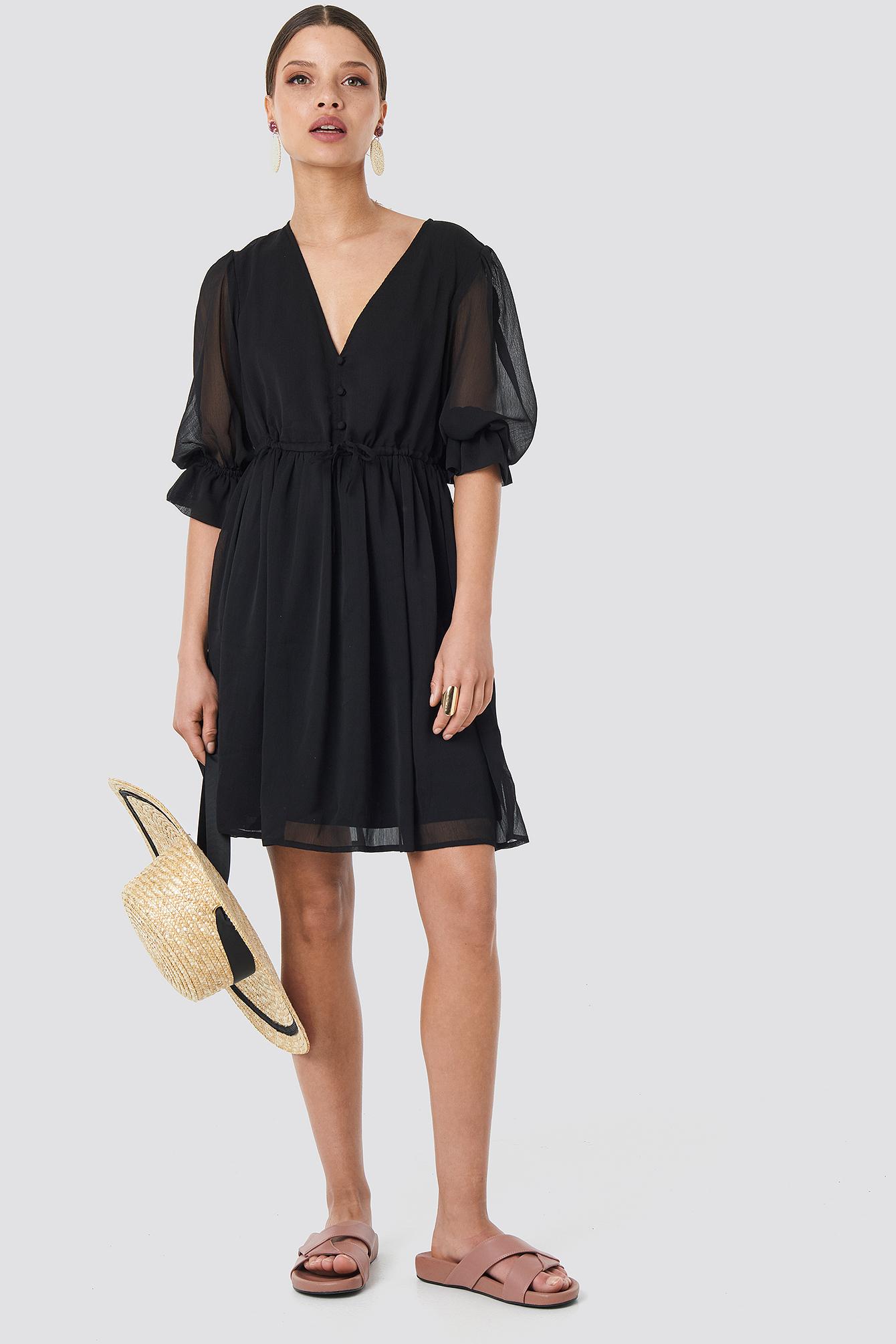 Plunge V-Neck Chiffon Dress NA-KD.COM