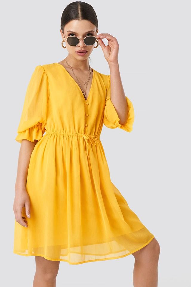 Plunge V-Neck Chiffon Dress Citrus