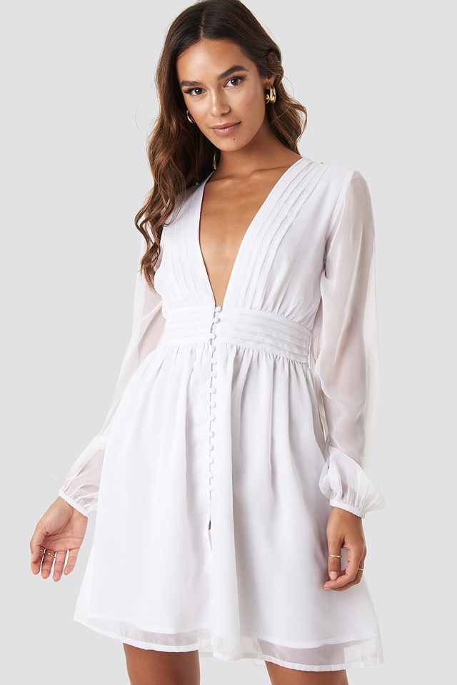 Plunge V-Neck Mini Dress White