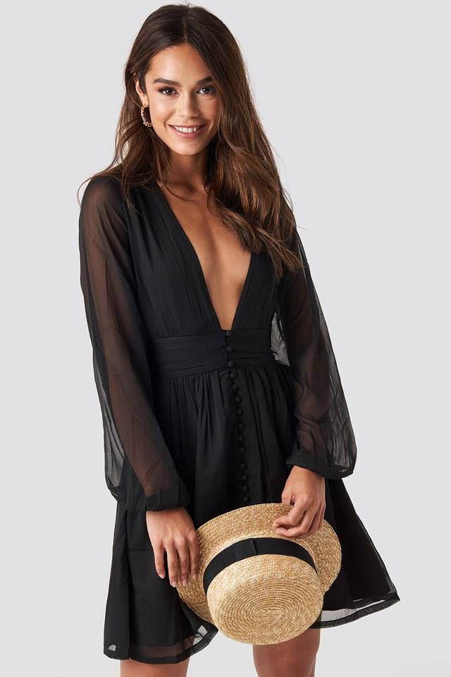 Plunge V-Neck Mini Dress Black