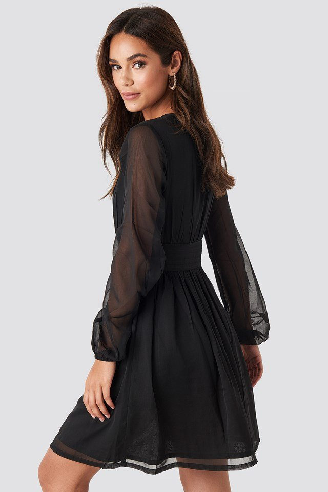 Plunge V-Neck Mini Dress Black