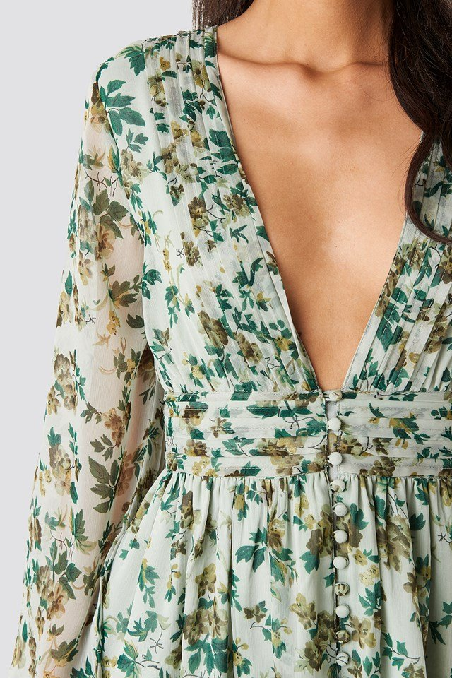 Plunge V-Neck Mini Dress Green Flower
