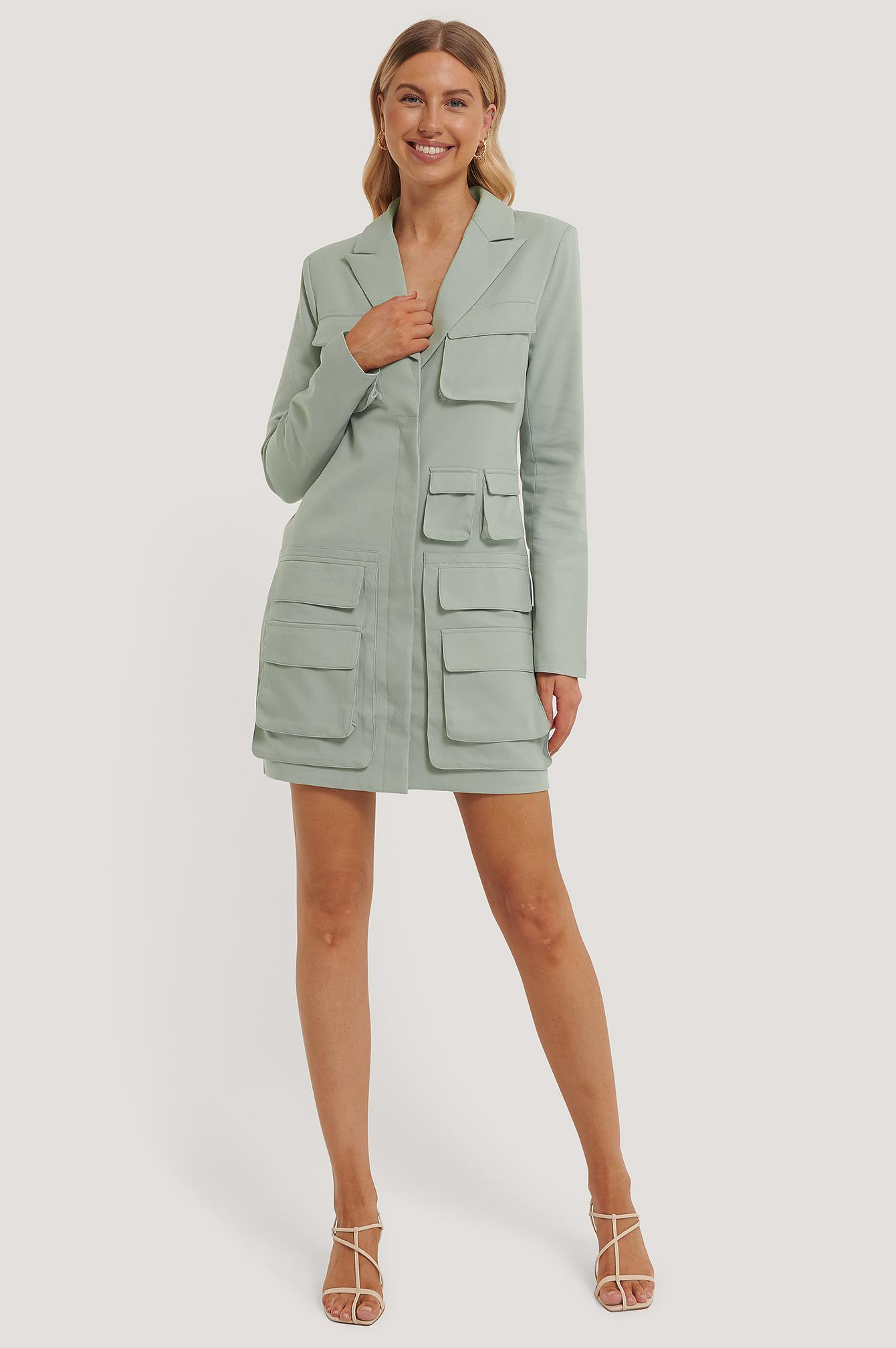 na-kd trend -  Pocket Blazer Dress - Green