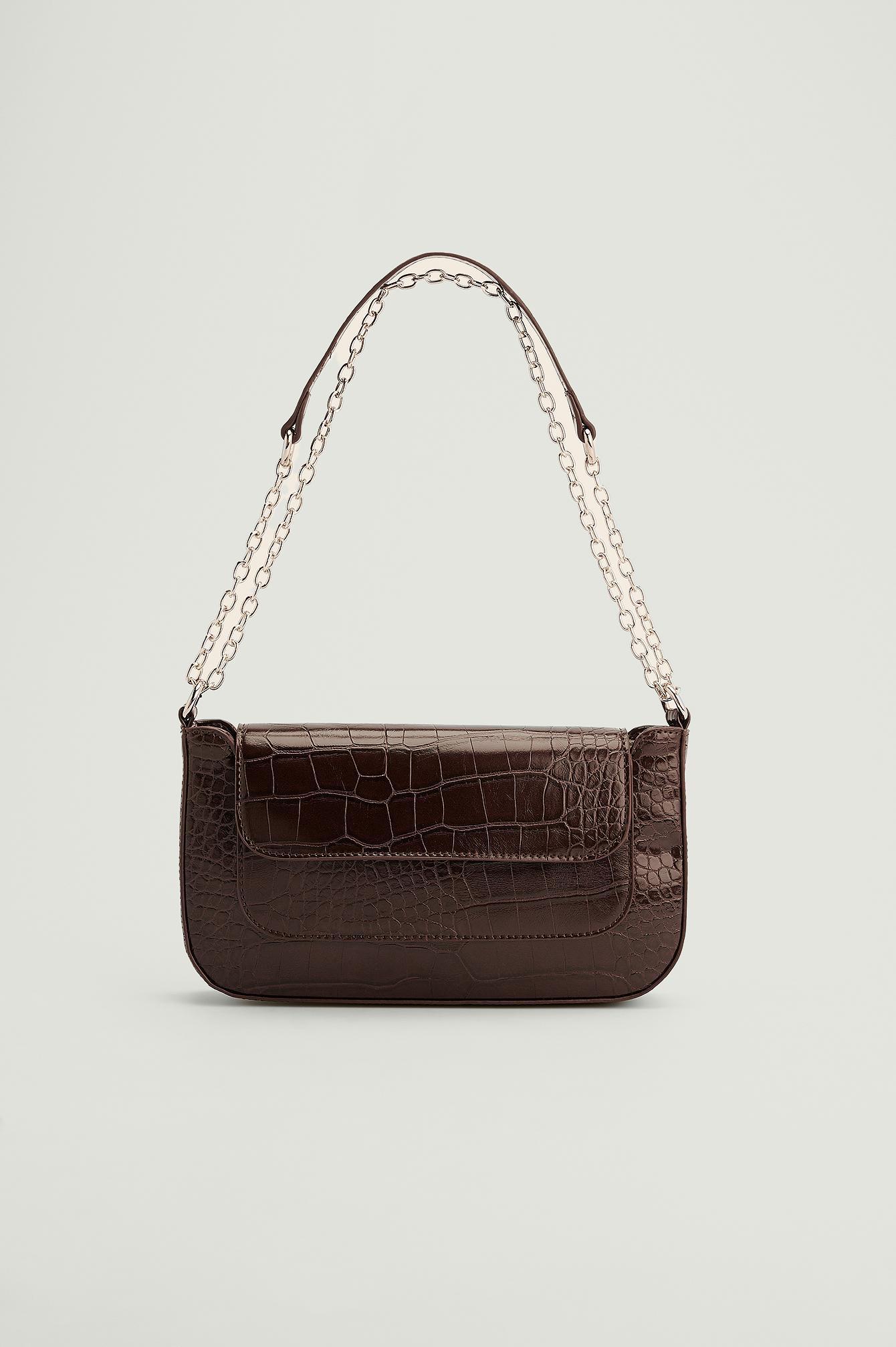 NA-KD Accessories Genanvendt Baguettetaske-taske Med Detalje På Lomme - Brown
