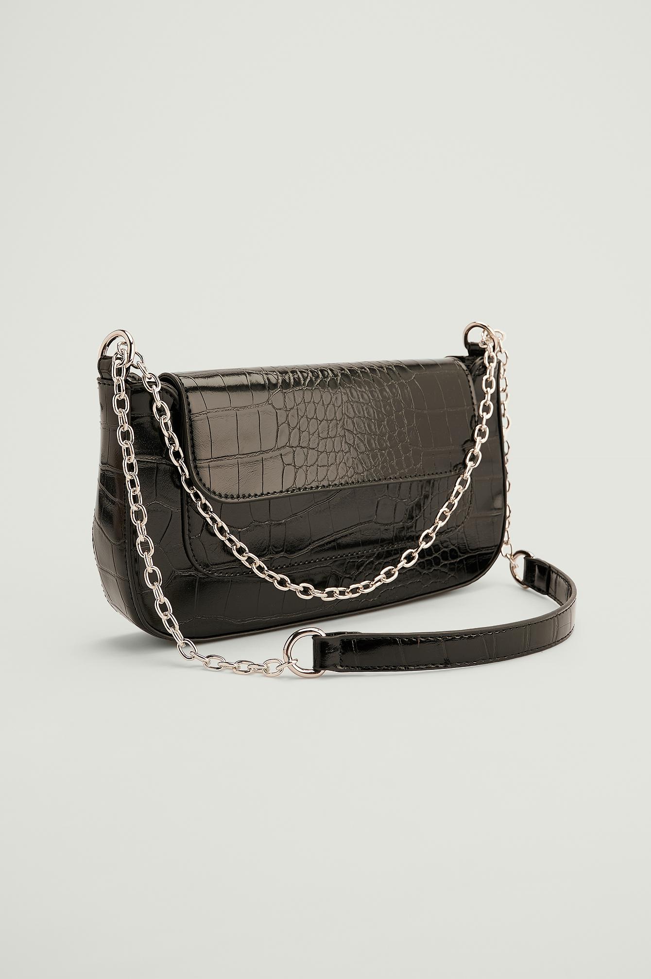 Se NA-KD Accessories Genanvendt Baguettetaske-taske Med Detalje På Lomme - Black ved NA-KD
