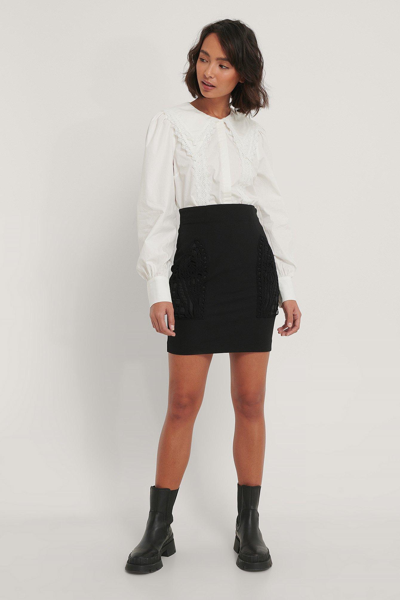 NA-KD Trend Nederdel Med Lommedetalje - Black