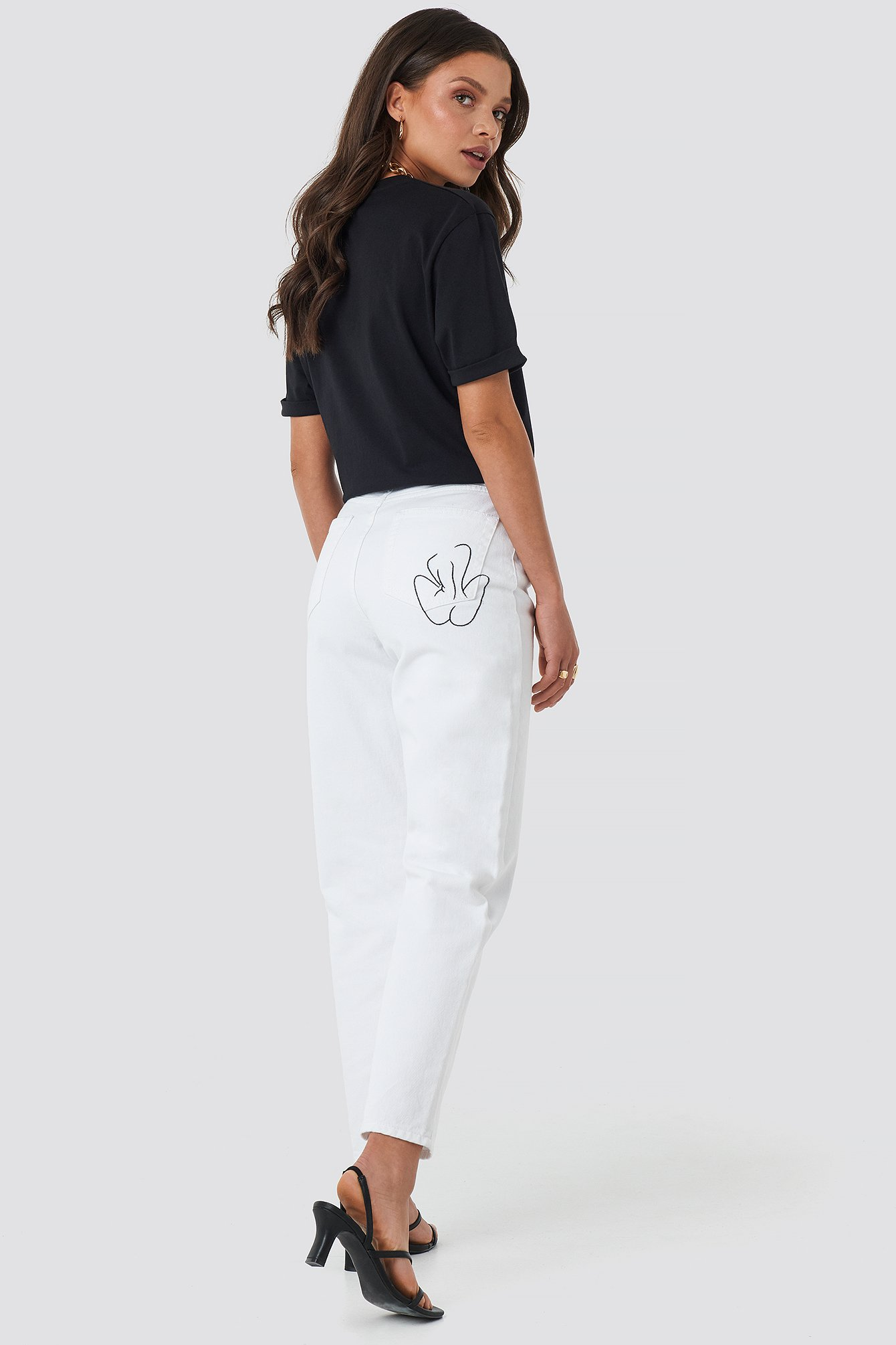 White Pocket Embroidered Jeans
