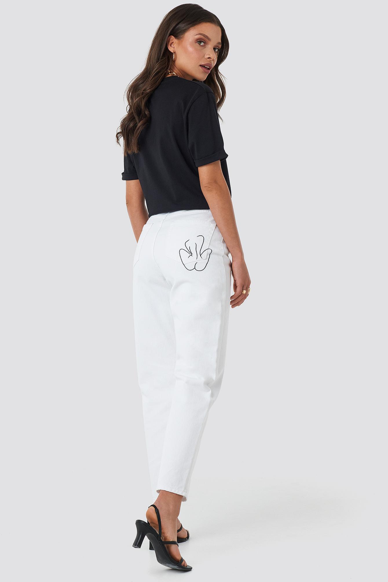Pocket Embroidered Jeans NA-KD.COM
