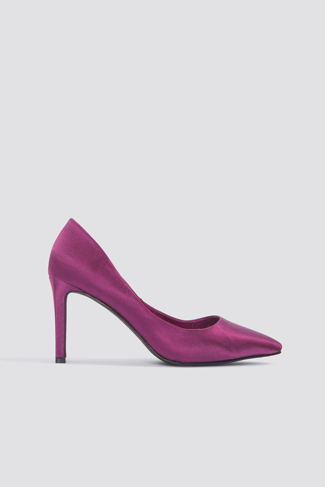 Pointed Rectangle Heel Pumps Purple