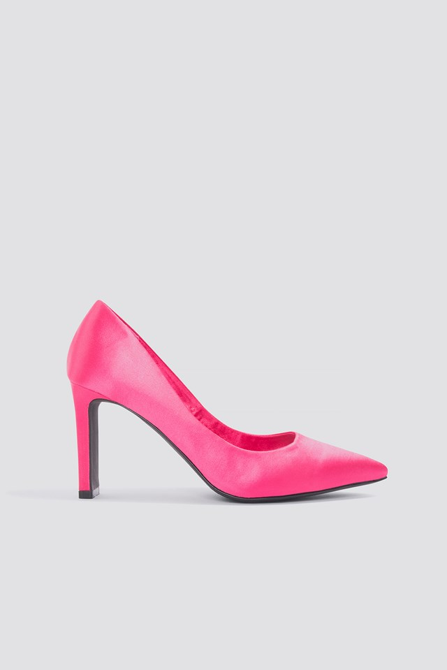 Pointed Rectangle Heel Pumps Hot Pink