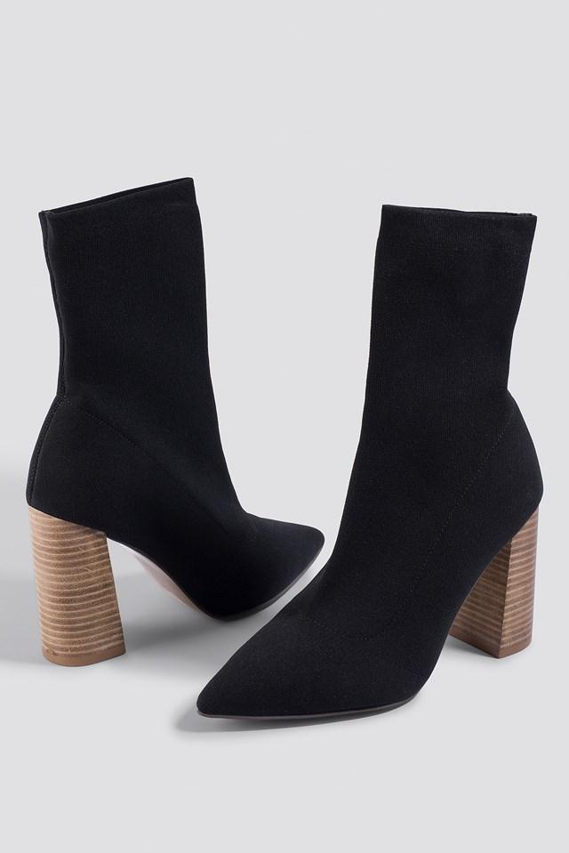 Pointy Block Heel Sock Boots NA-KD.COM