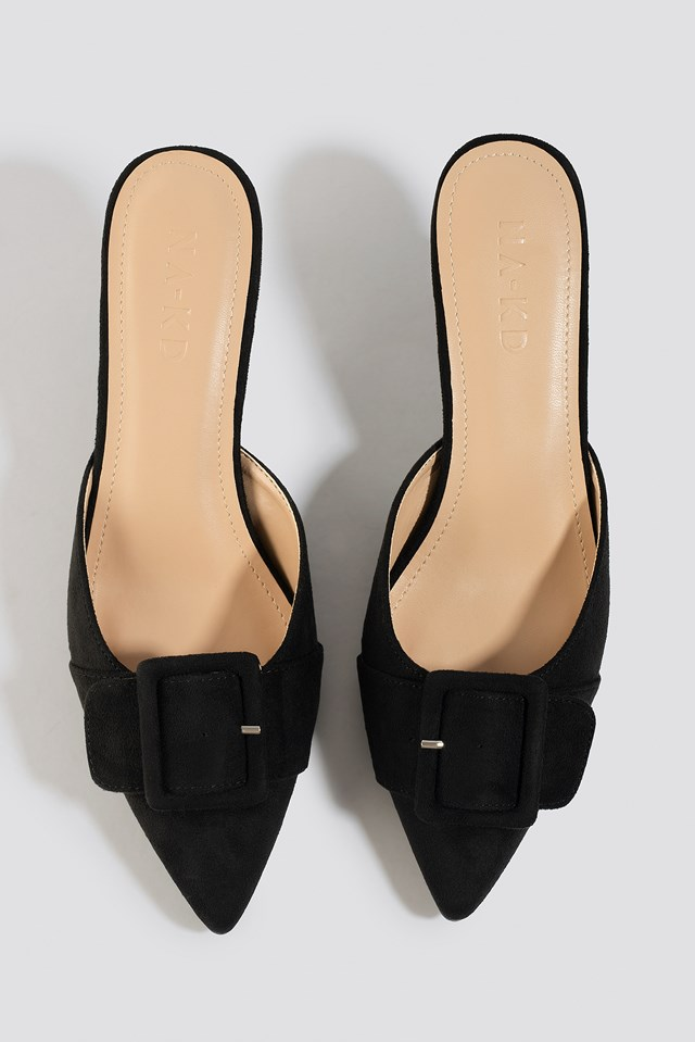 Pointy Buckle Mules Black
