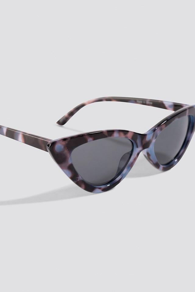 Pointy Cat Eye Sunglasses Dark Blue Grey