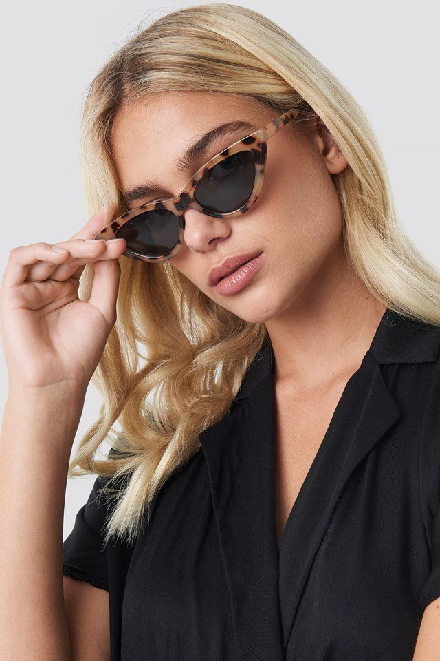 Pointy Cat Eye Sunglasses Nude Tortoise