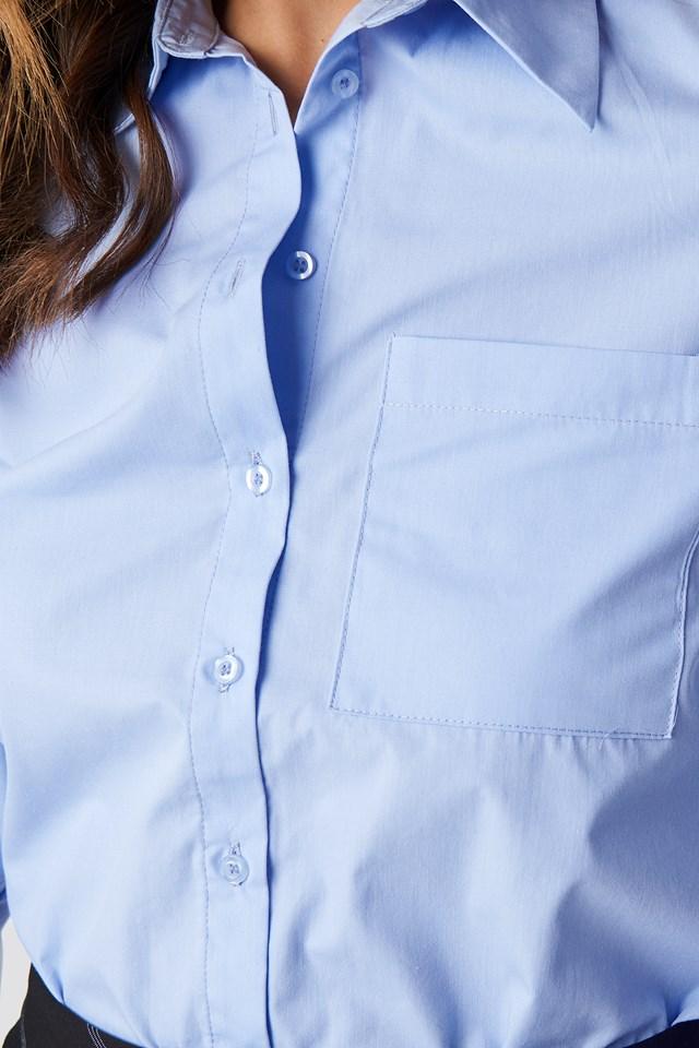 Pointy Collar LS Shirt Light Blue