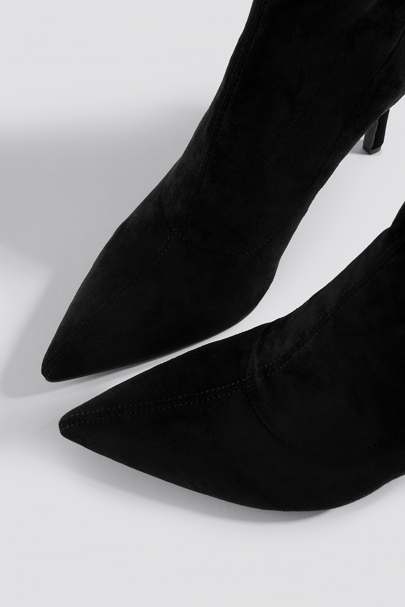Black Pointy Faux Suede Booties