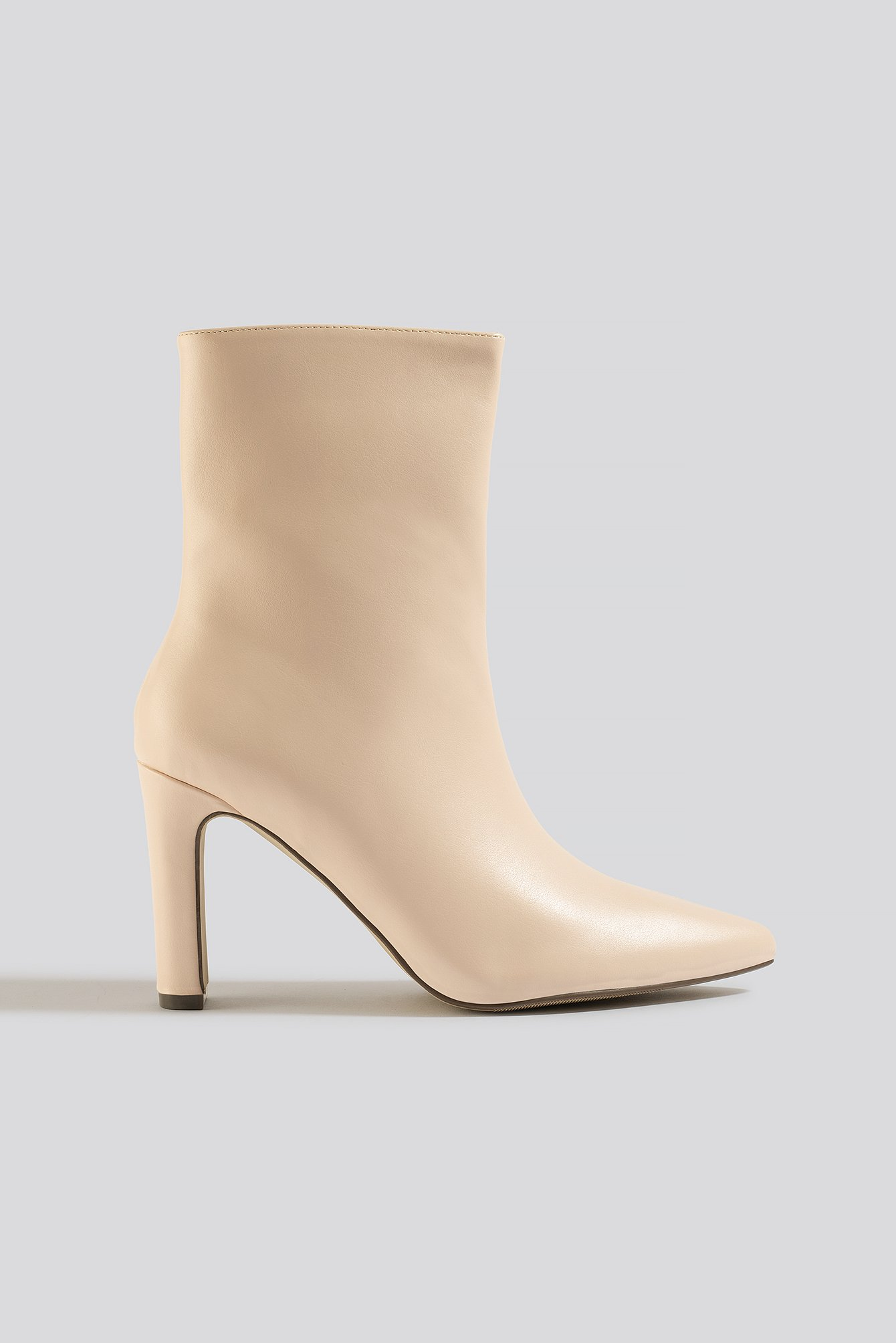 Na-Kd Shoes Pointy Flat Heel Boots - Beige
