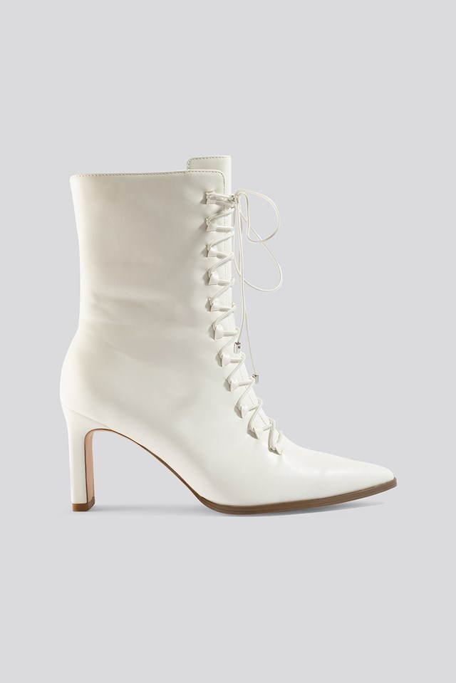 Pointy Lace Up Booties White