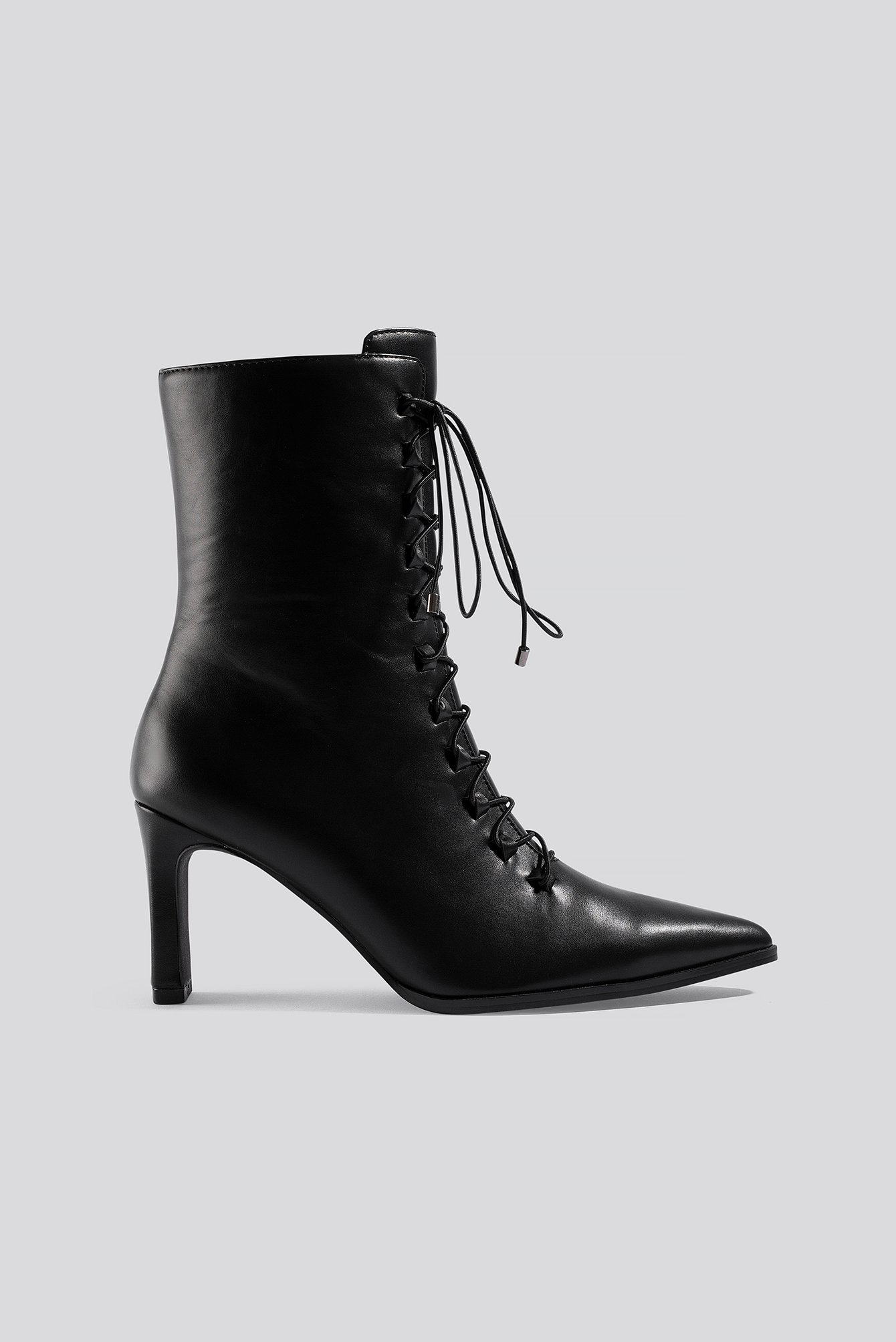 na-kd shoes -  Pointy Lace Up Booties - Black