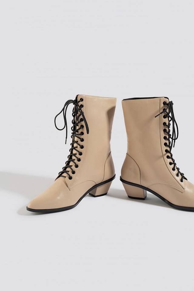 Pointy Lace Up Boots Nude