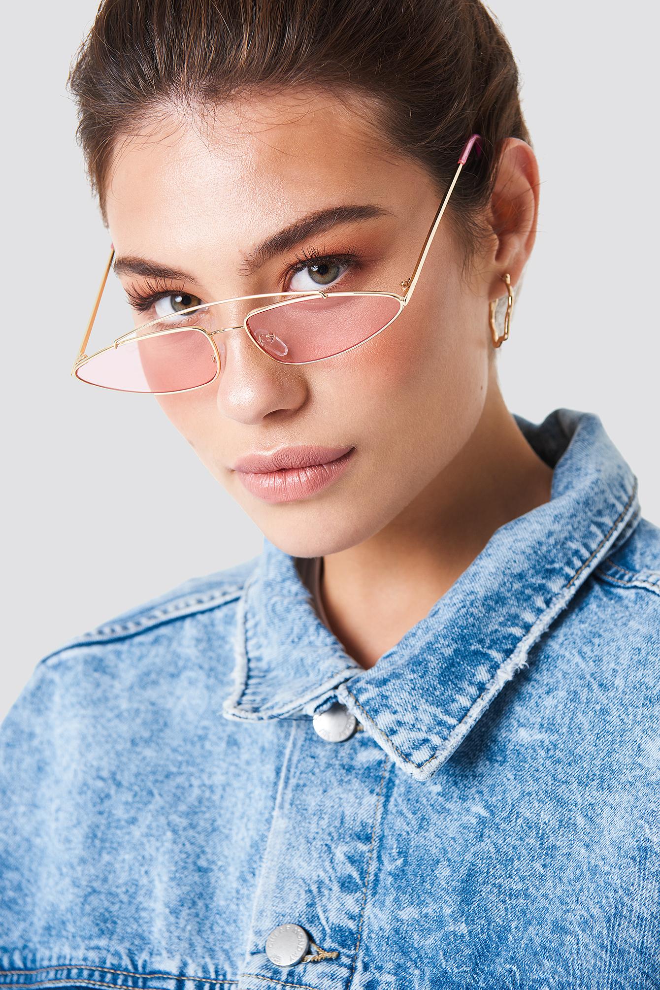 na-kd accessories -  Pointy Metal Bridge Sunglasses - Pink