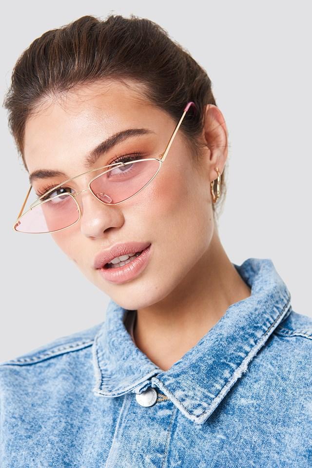 Pointy Metal Bridge Sunglasses Pink