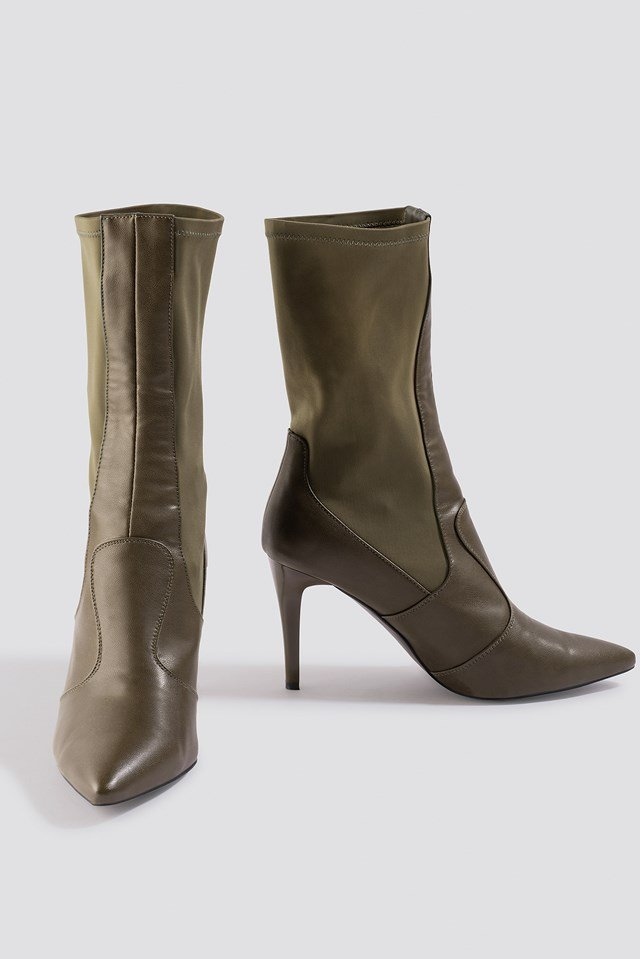 Pointy PU Mix Boots Khaki