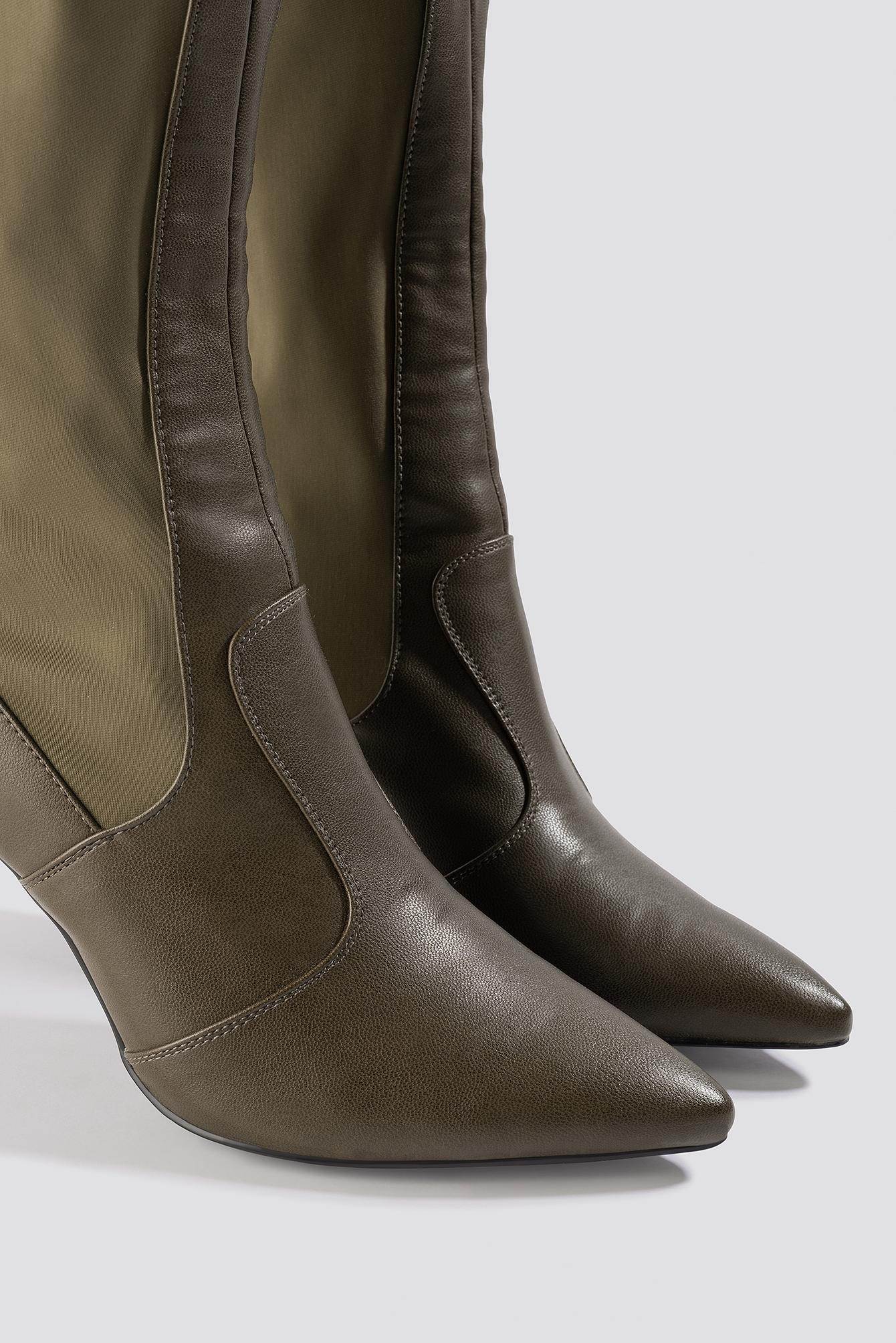 Pointy PU Mix Boots NA-KD.COM