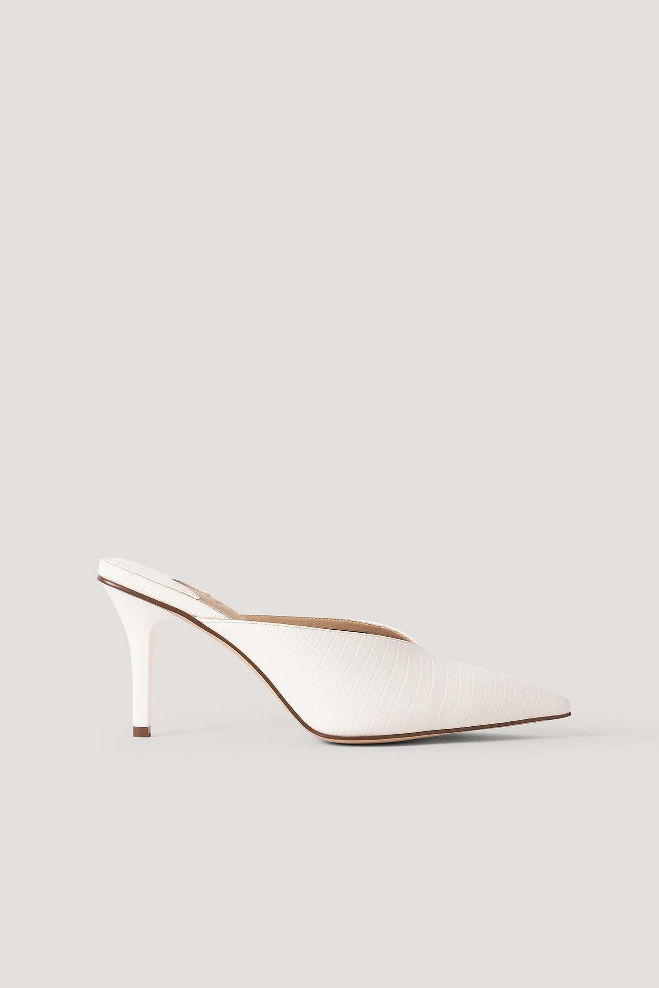 NA-KD Shoes Spidse Mules Med Firkantet Hæl - White