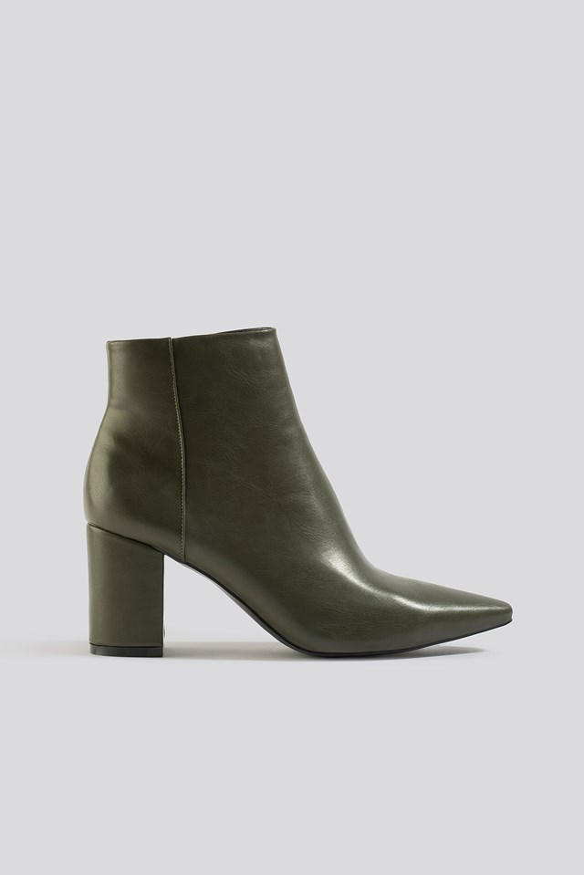 Pointy Toe Ankle Boots Army Green