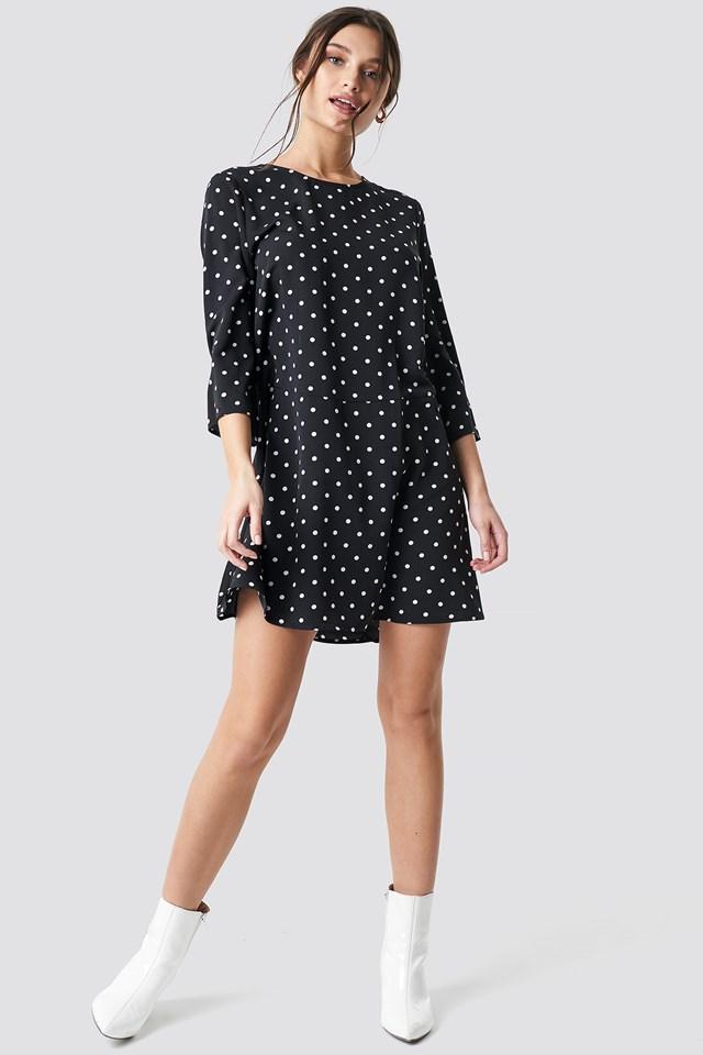 Polka Dot Print Ruffled Mini Dress Black/White Spots