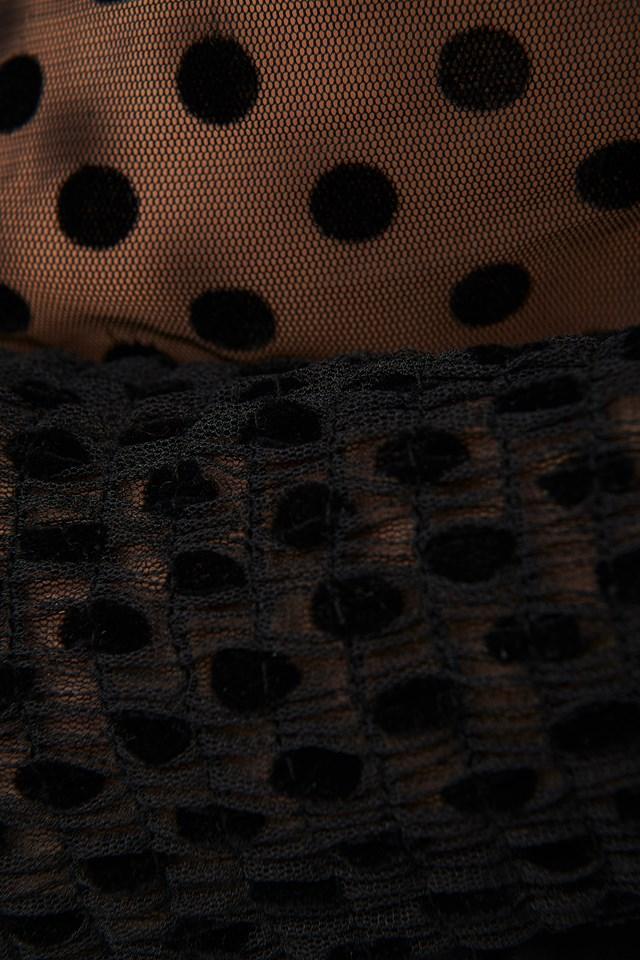 Polka Dot Detailed Tulle Blouse Black