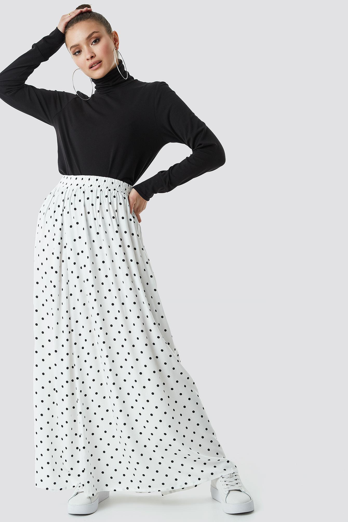 Polka Dot Print Maxi Skirt NA-KD.COM