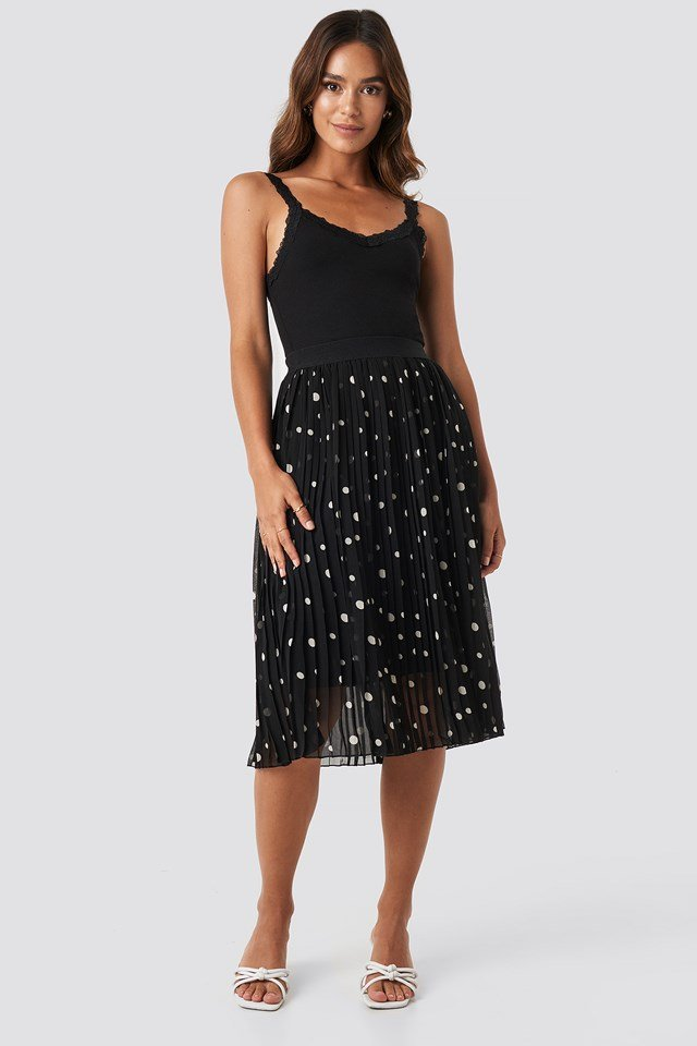 Polka Dot Print Midi Skirt Dots