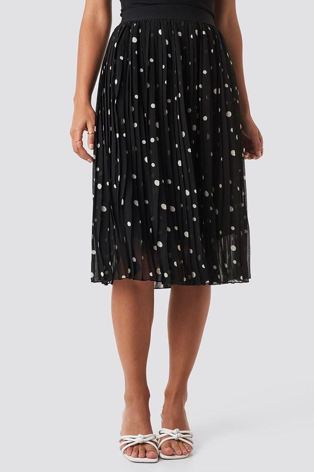 Polka Dot Print Midi Skirt Dots